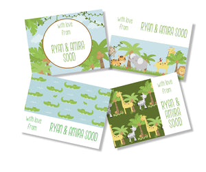 personalised gift cards for kids jungle animals design