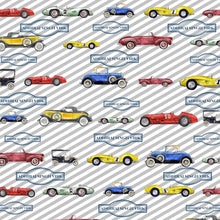 Personalised wrapping paper with watercolour vintage cars and striped background