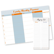 weekly family planner with a matching shopping list pad in blue, orange and white from Label Shabel