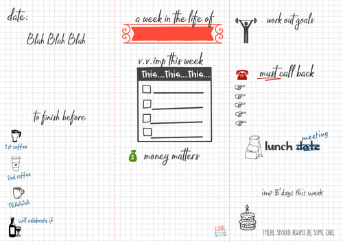 weekly fun planner note pad with graph paper back ground and doodles