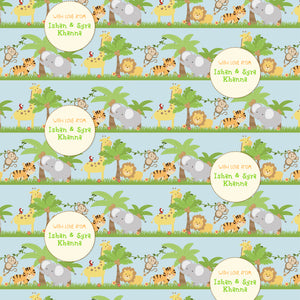 personalised wrapping paper with jungle safari theme
