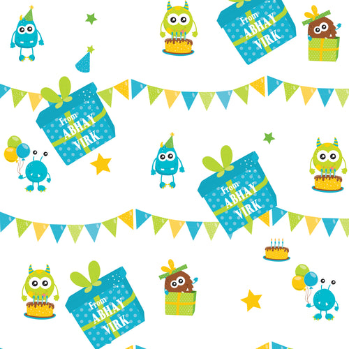 personalised wrapping paper  with monsters at party theme