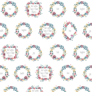 wreaths of water colour flowers in pink grey yellow with best wishes in a personalised wrapping paper