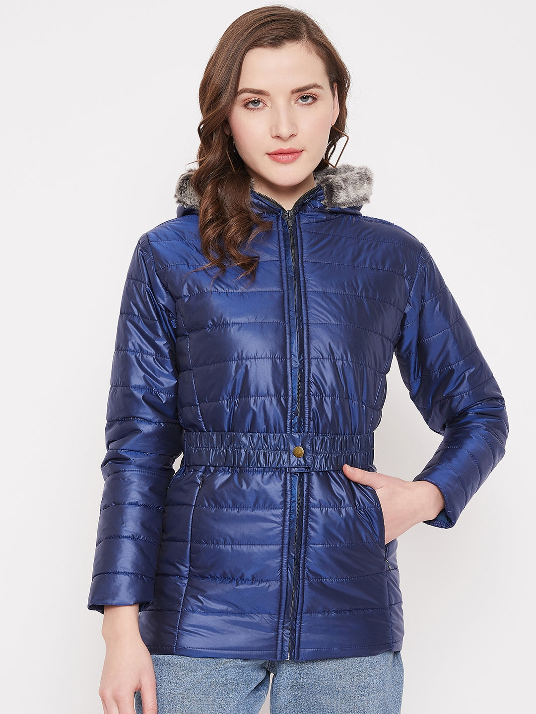 JUMP USA Womens Blue Hood Quilted Jacket