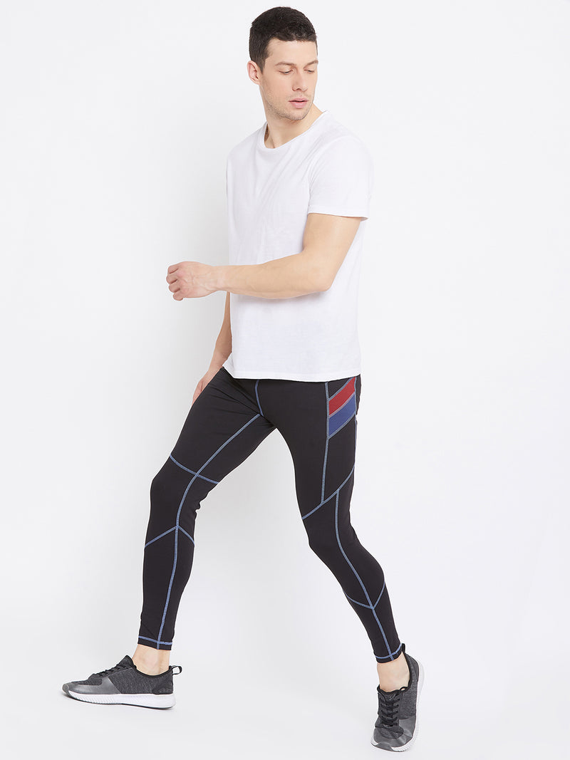 JUMP USA Men's Black Solid Active Wear Tights