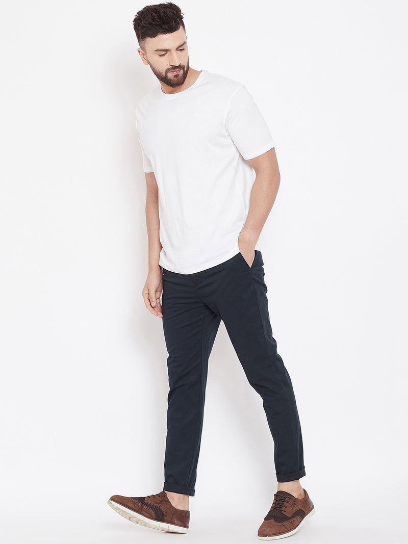 Men's Navy Blue Stretch Washed Casual Tailored Fit Chinos