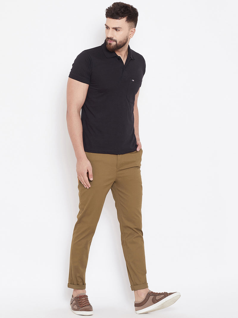 Men's Tan Stretch Washed Casual Tailored Fit Chinos