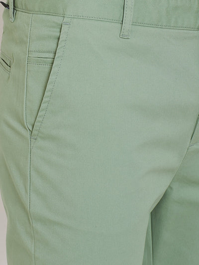 Men's Fern Green Stretch Washed Casual Tailored Fit Chinos - JUMP USA