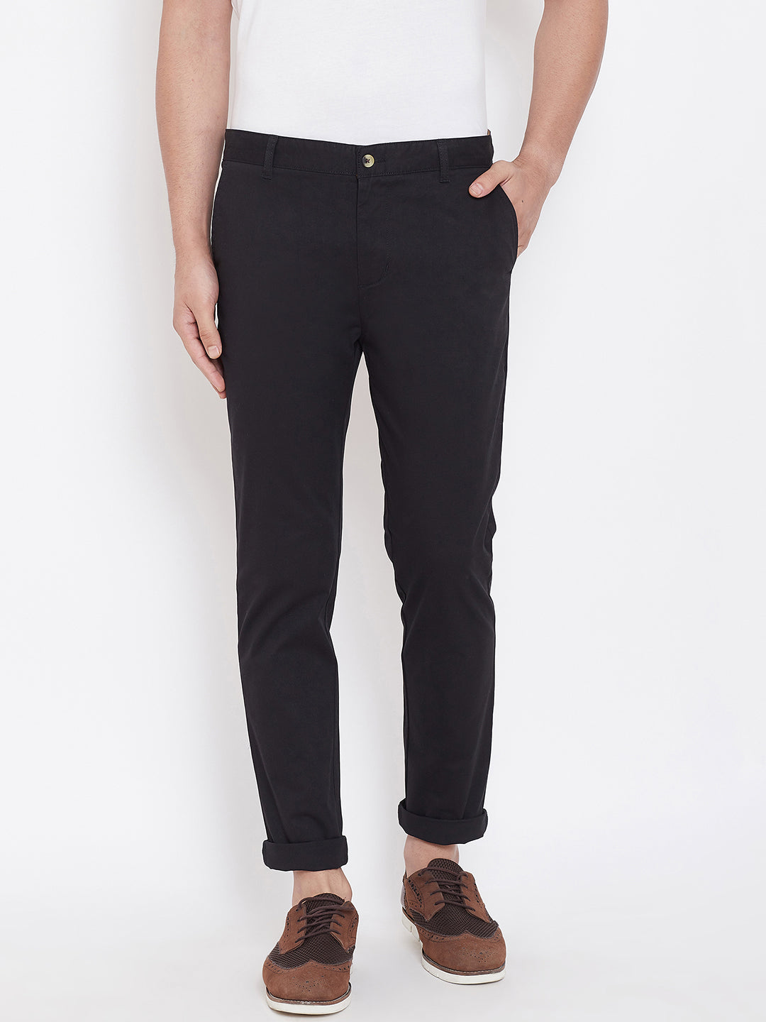 Men's Black Stretch Washed Casual Tailored Fit Chinos - JUMP USA