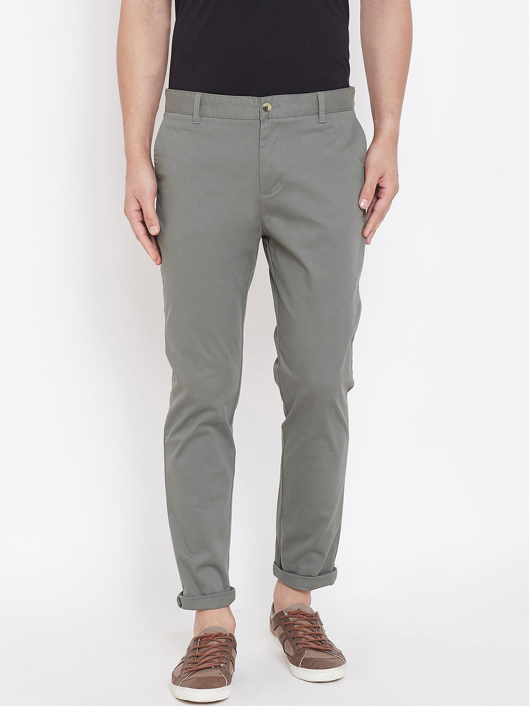 Men's Charcoal Stretch Washed Casual Tailored Fit Chinos