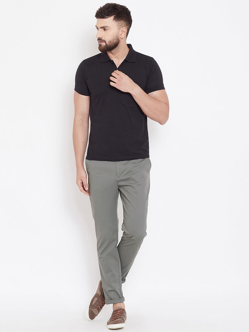 Men's Charcoal Stretch Washed Casual Tailored Fit Chinos - JUMP USA