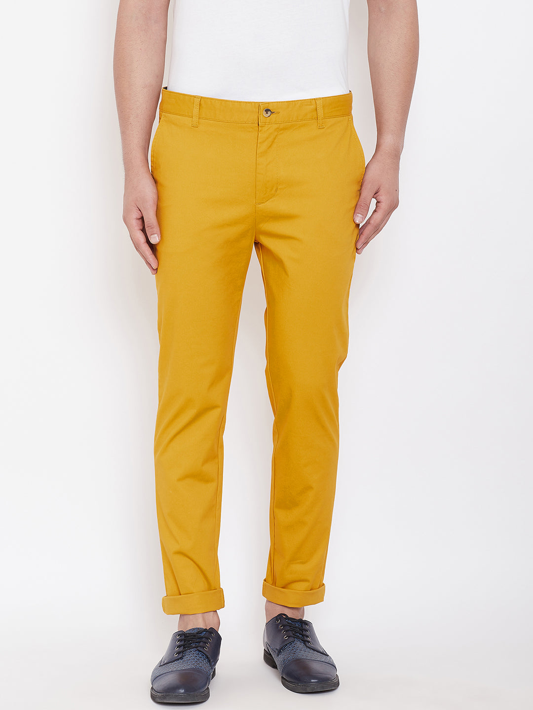 Men's Mustard Stretch Washed Casual Tailored Fit Chinos