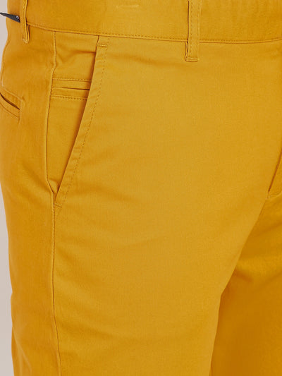 Men's Mustard Stretch Washed Casual Tailored Fit Chinos - JUMP USA