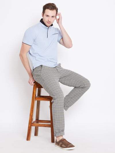 Men Grey Checked Casual Regular Fit Trousers - JUMP USA