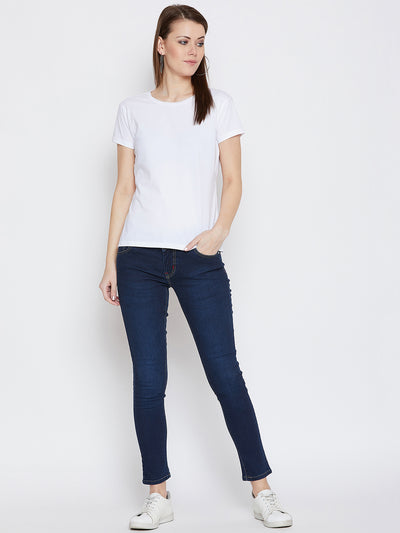 JUMP USA Women Dark Blue Slim Fit Mid-Rise Clean Look Stretchable Jeans - JUMP USA