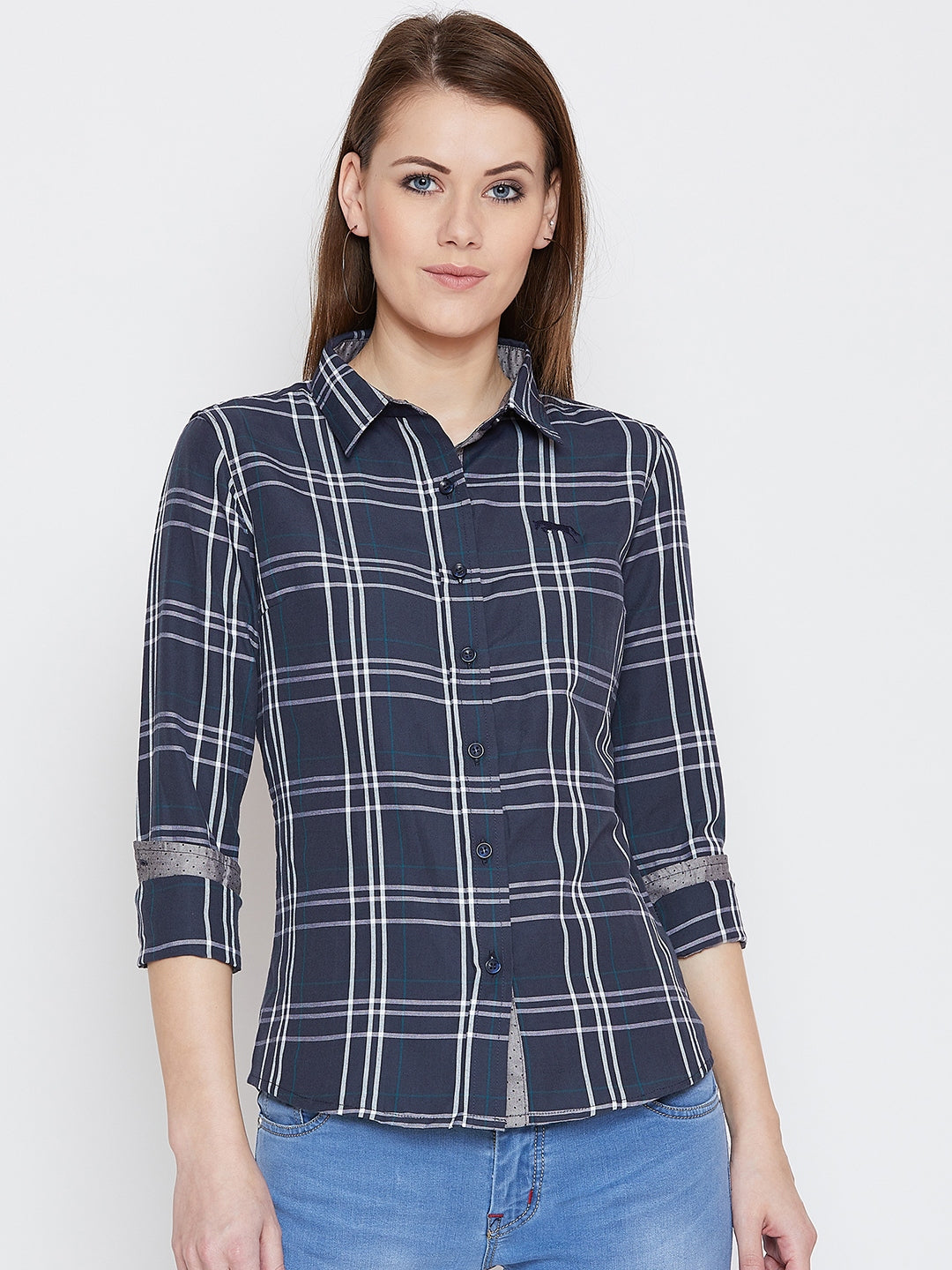 JUMP USA Women Navy Blue Checked Casual Shirt - JUMP USA