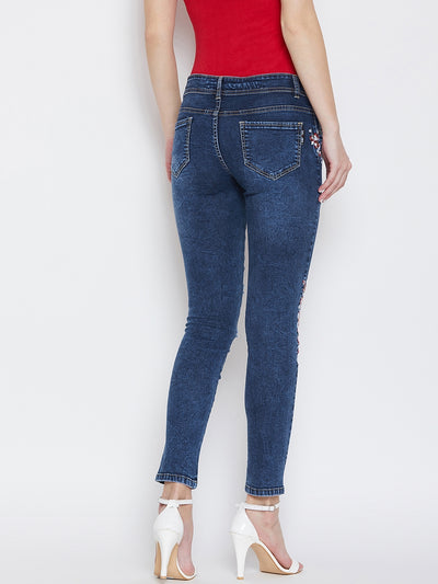 JUMP USA Women Cold Wash Slim Fit Mid-Rise Clean Look Stretchable Jeans - JUMP USA
