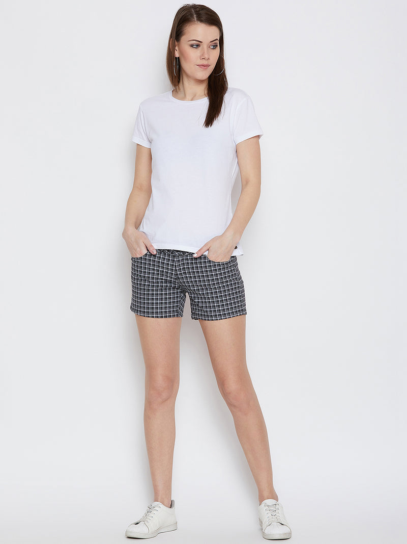 JUMP USA Women Checked Black & White Casual Shorts