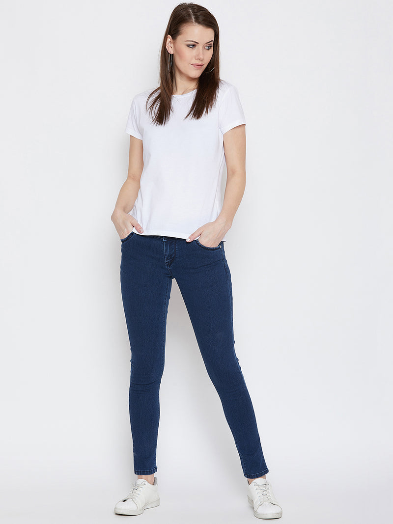 JUMP USA Women Blue Slim Fit Mid-Rise Clean Look Stretchable Jeans
