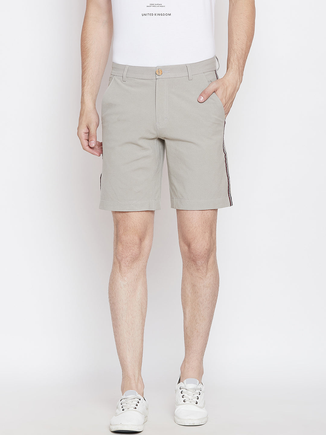 JUMP USA Men Grey Solid Regular Fit Chino Shorts - JUMP USA