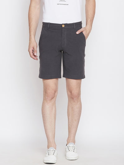 JUMP USA Men Charcoal Solid Regular Fit Chino Shorts - JUMP USA