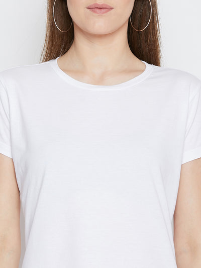 JUMP USA Women White Cotton Solid Casual Round Neck T-shirt - JUMP USA