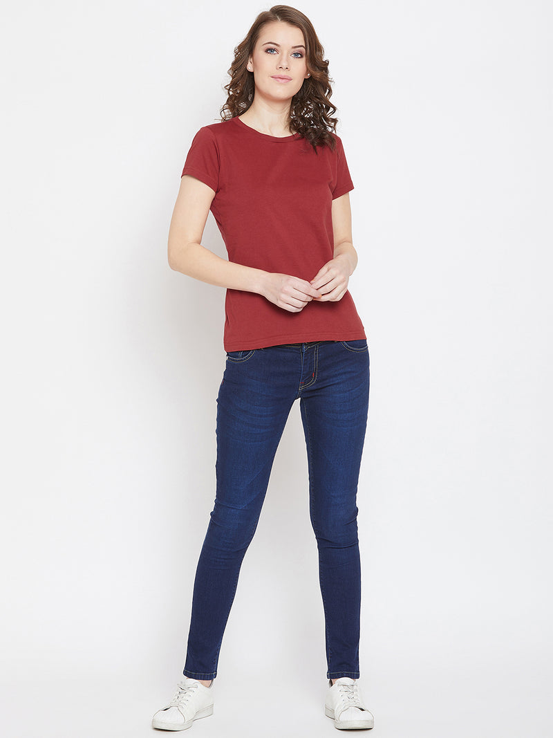 JUMP USA Women Red Cotton Solid Round Neck T-Shirt - JUMP USA