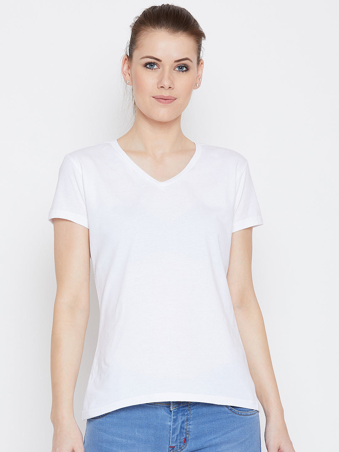JUMP USA Women White Cotton Solid Casual V-Neck Neck Tshirt - JUMP USA