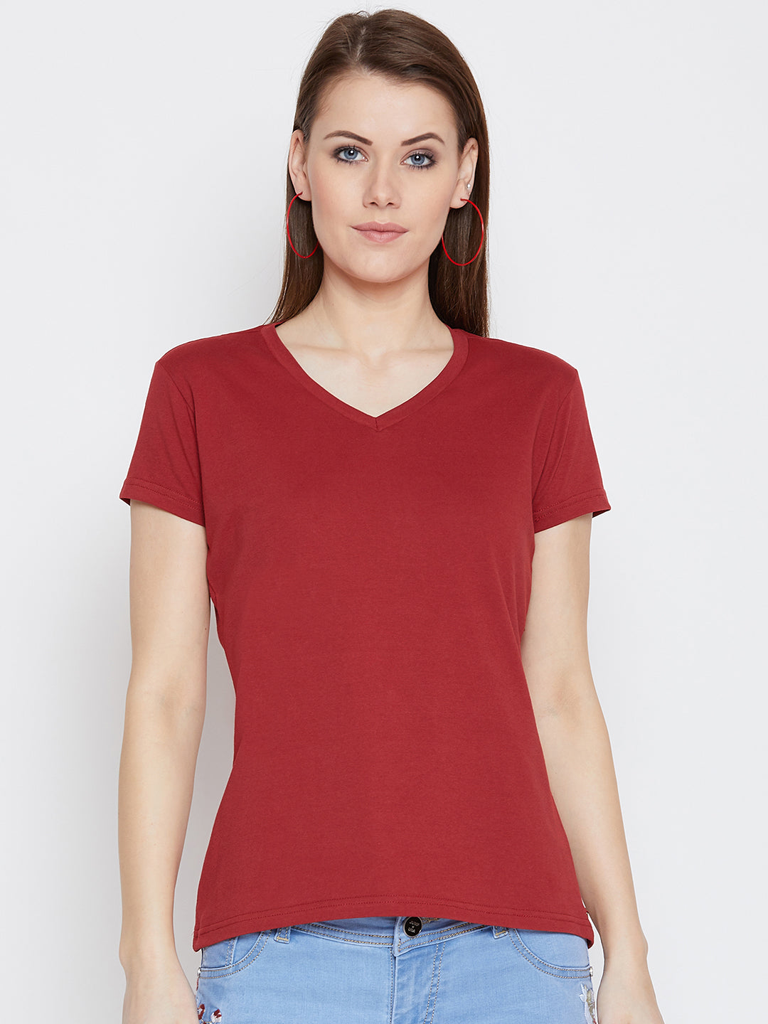 JUMP USA Women Red Cotton Solid Casual V-Neck Neck Tshirt