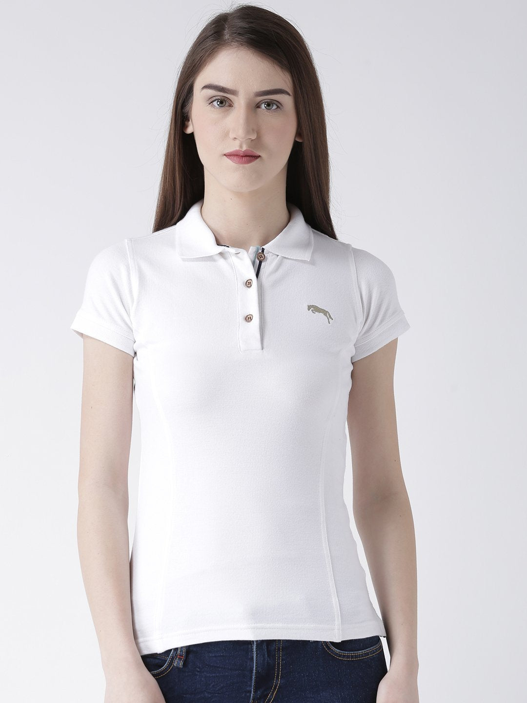Women White Solid Polo Collar T-shirt - JUMP USA