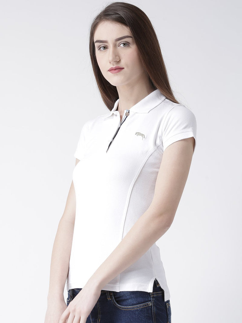 Women White Solid Polo Collar T-shirt