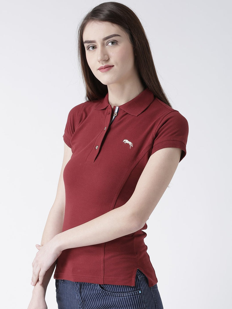 Women Plain Short Sleeves Polo T-Shirt - JUMP USA