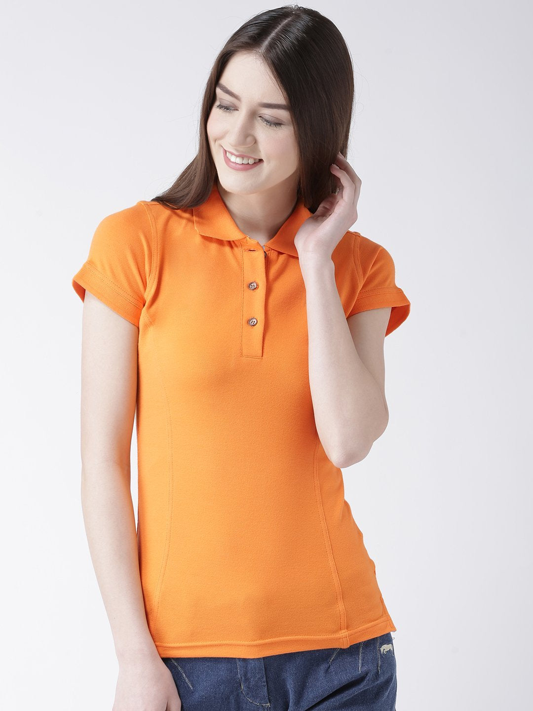 Women Orange Solid Polo Collar T-shirt
