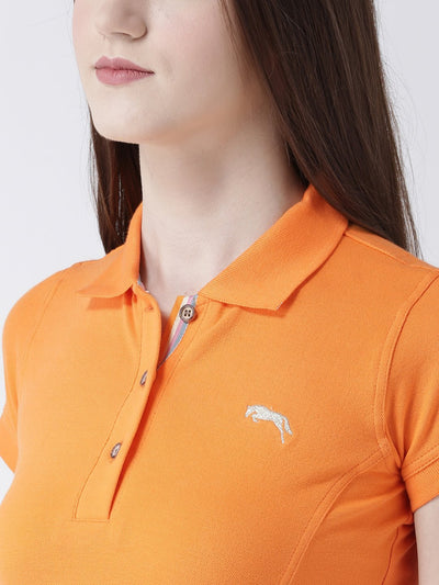 Women Orange Solid Polo Collar T-shirt - JUMP USA