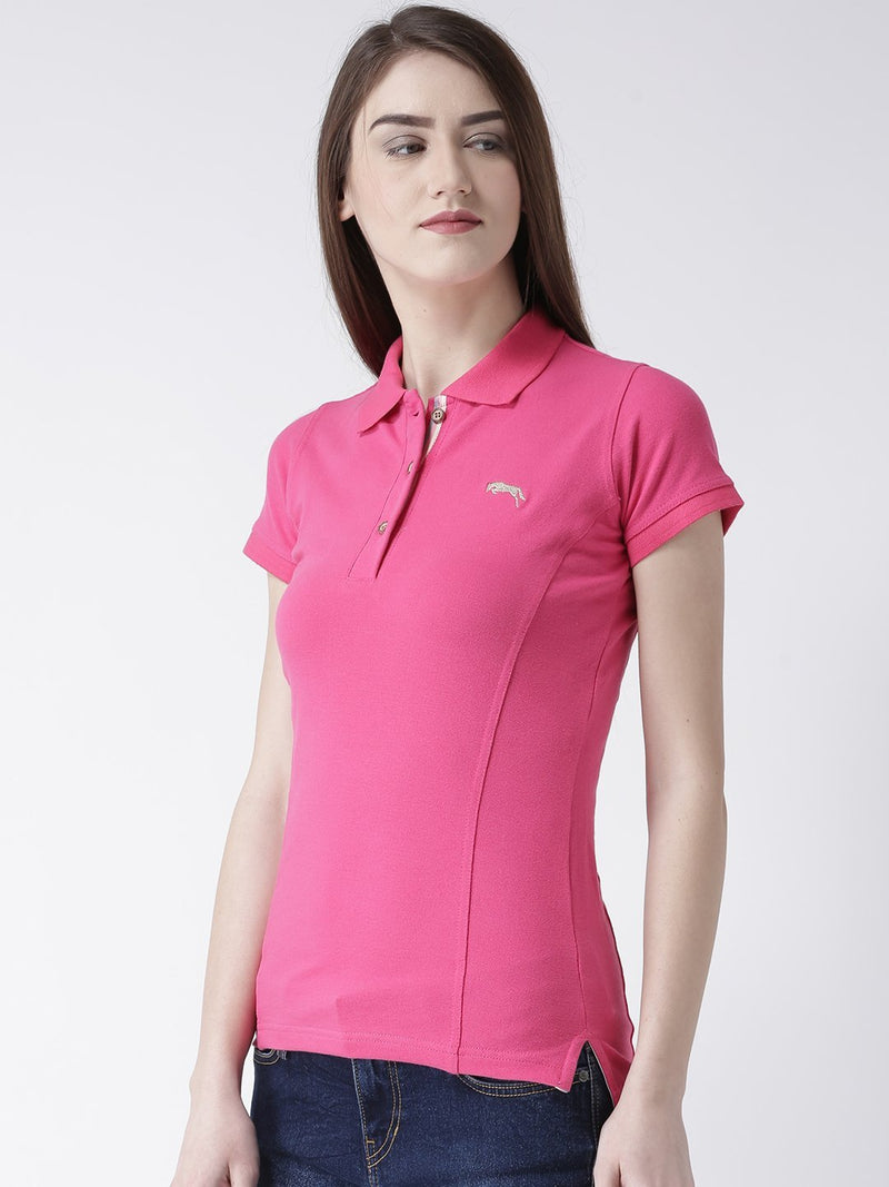 Women pink Solid Polo Collar T-shirt