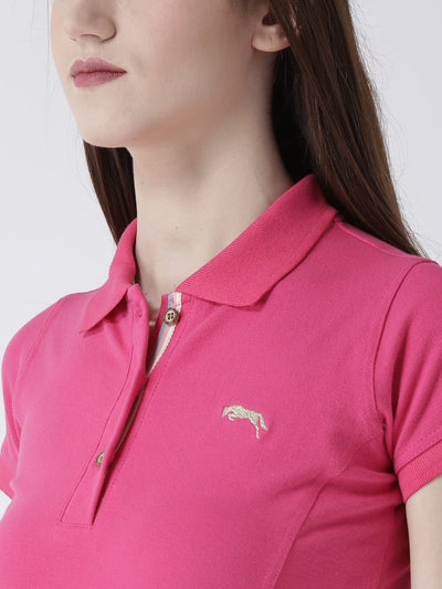 Women pink Solid Polo Collar T-shirt - JUMP USA