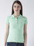 Women Green Solid Polo Collar T-shirt