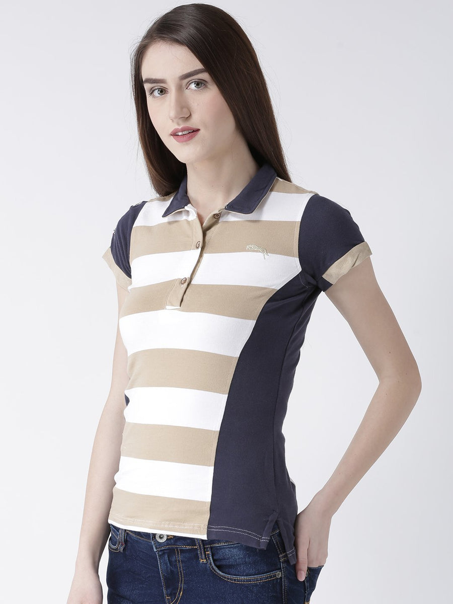 Women Beige Striped Polo Collar T-shirt