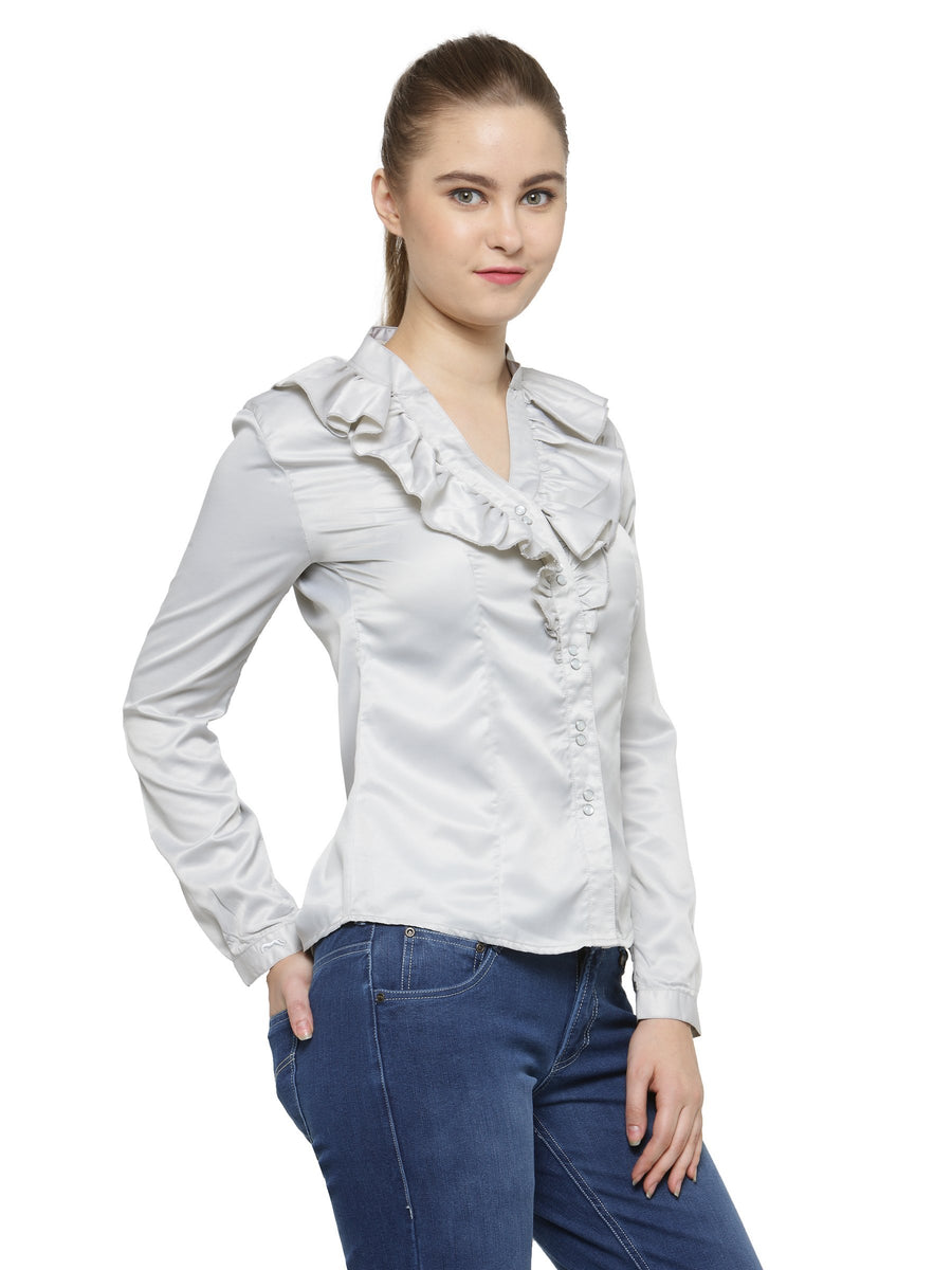 Women Fashionable Long Sleeves Polyester Shirt
