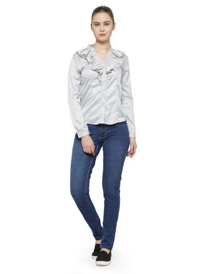 Women Fashionable Long Sleeves Polyester Shirt - JUMP USA