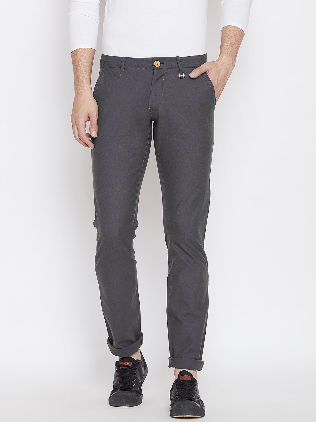 JUMP USA Men Grey Casual Slim Fit Solid Chinos