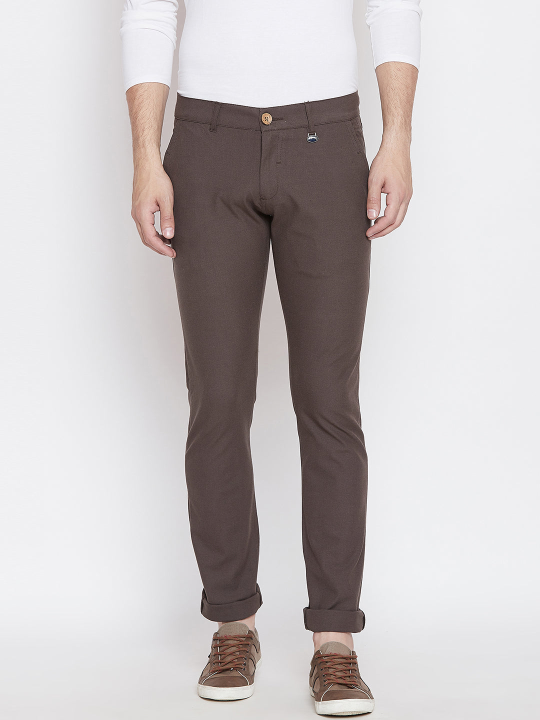 JUMP USA Men Brown Casual Slim Fit Solid Chinos