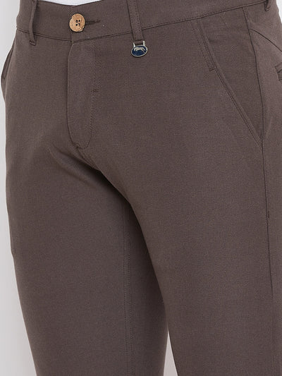 JUMP USA Men Brown Casual Slim Fit Solid Chinos - JUMP USA