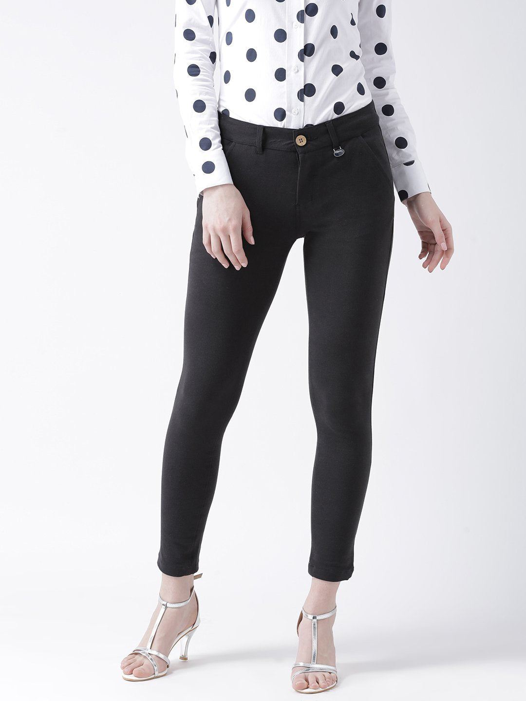 Women Black Slim Fit Trouser - JUMP USA