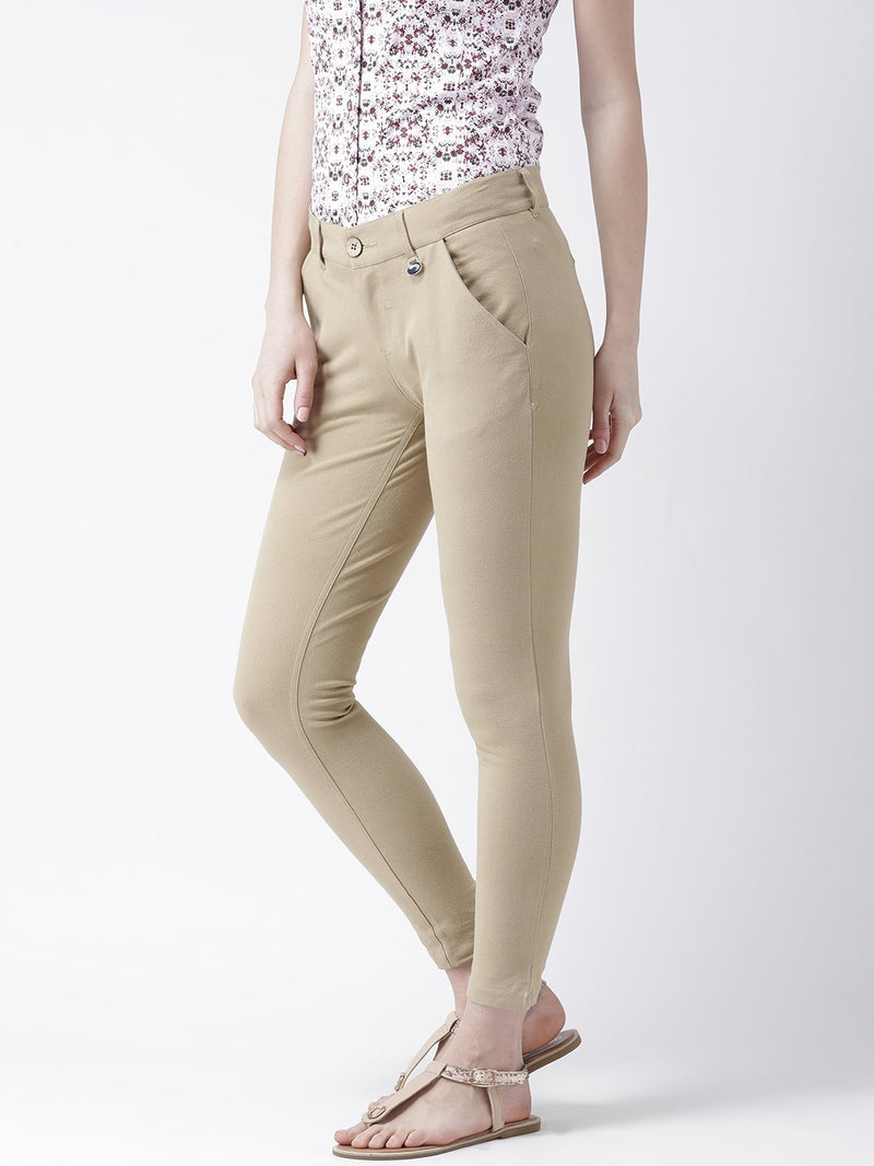 Women Beige Slim Fit Trouser - JUMP USA
