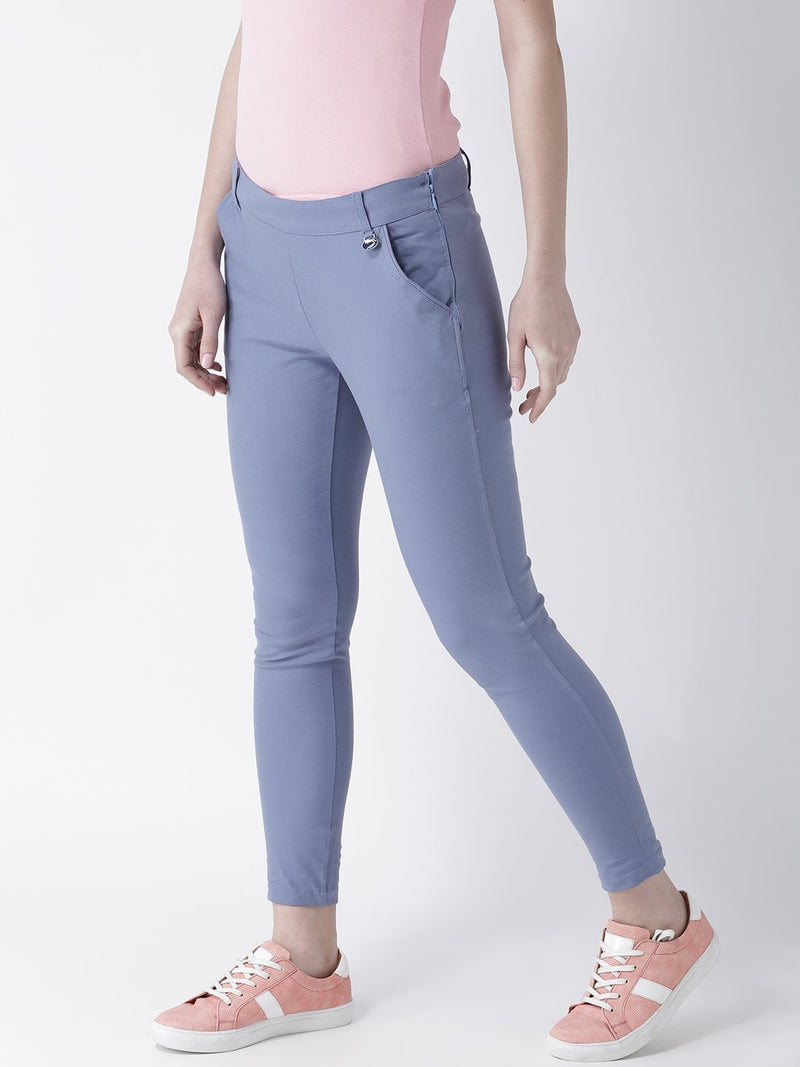 Women Blue Slim Fit Trouser - JUMP USA