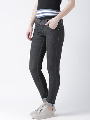 JUMP USA Women Black Slim Fit Mid-Rise Clean Look Stretchable Jeans - Jump USA