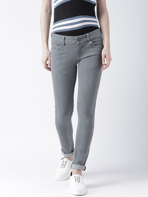 JUMP USA Women Grey Slim Fit Mid-Rise Clean Look Stretchable Jeans
