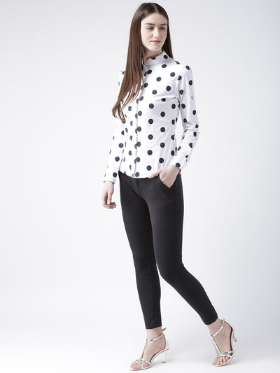 Women White Regular Fit Printed Casual Shirt - JUMP USA