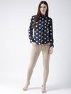 Women Navy Blue Regular Fit Printed Casual Shirt - JUMP USA